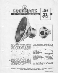 Goodmans(グッドマン) Axiom22カタログ