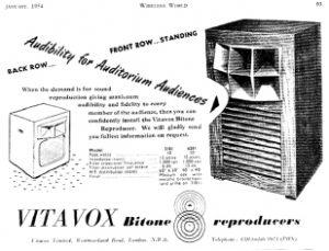 英VITAVOX(ヴァイタヴォックス) Bitone TYPE6201|カタログ